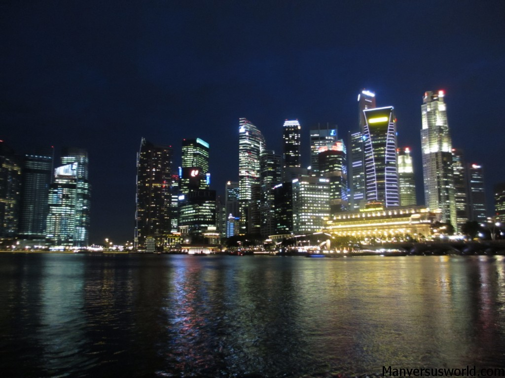 The Singapore skyline by night
