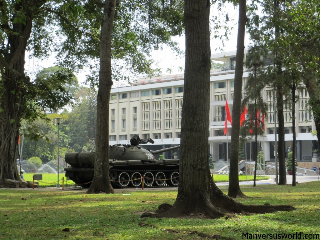 An army tank parked at the Reunification Palace in Ho Chi Minh City, Vietnam.