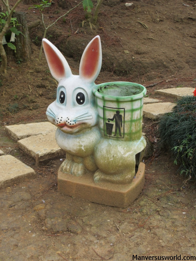 A cutesy bunny rubbish bin in Dalat's Valley of Love, Vietnam.