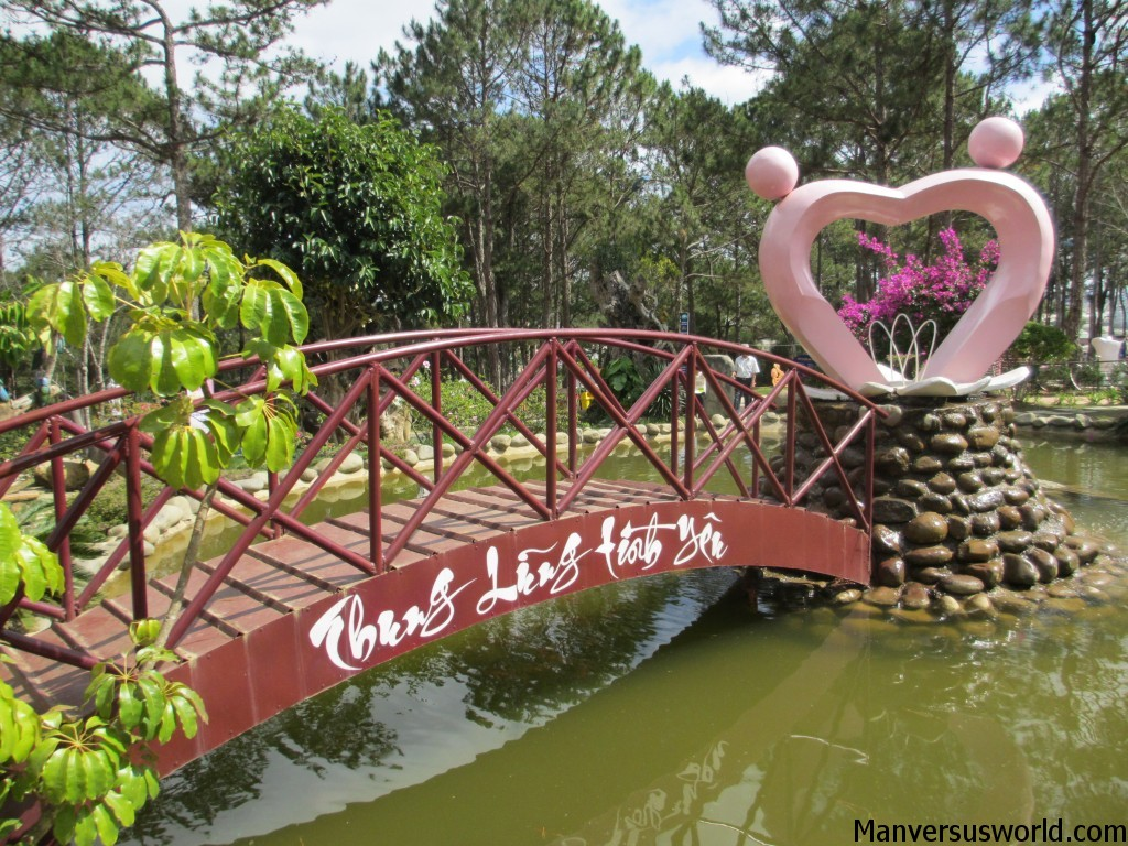 A romantic bridge in Dalat's Valley of Love, Vietnam
