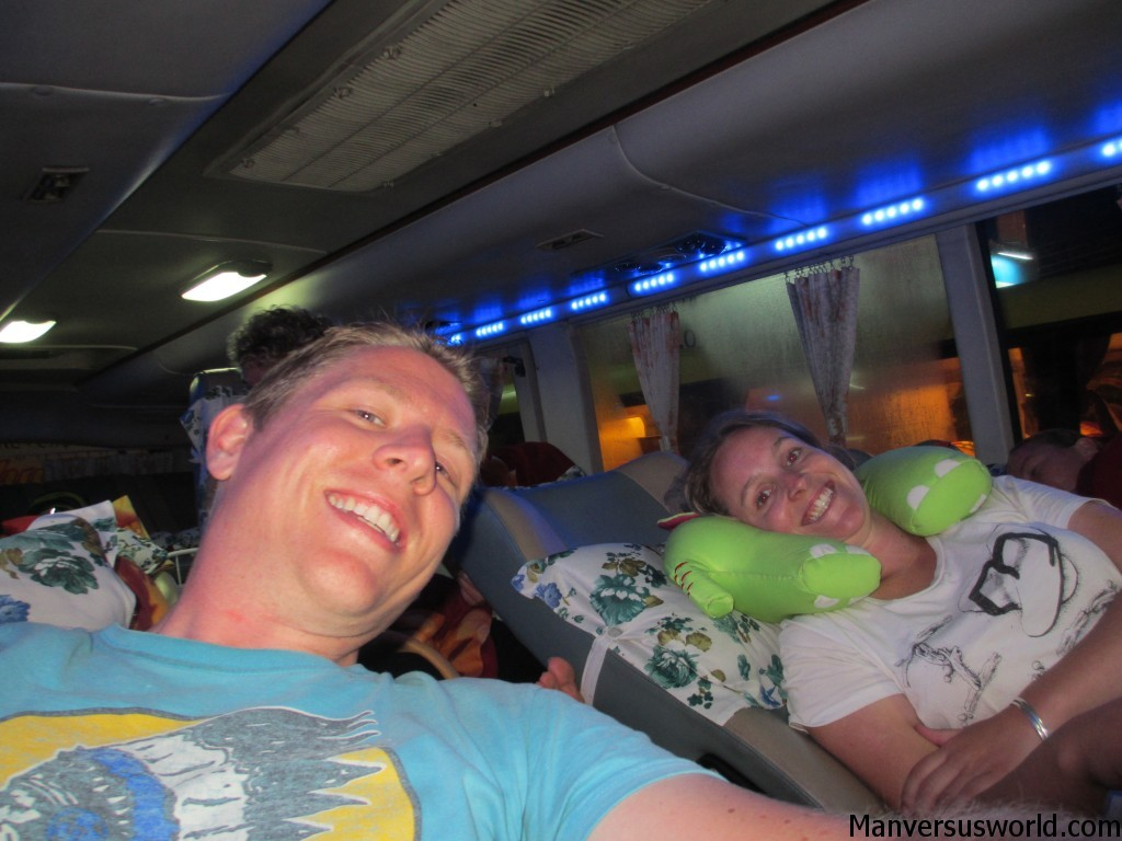 Me and Nicola on a Vietnamese sleeper bus from Nha Trang to Hoi An.