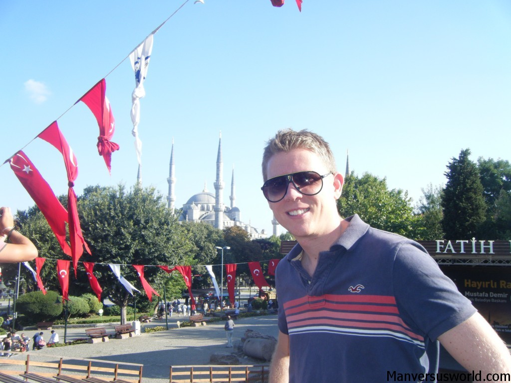 Me in Istanbul with the blue mosque in the background.