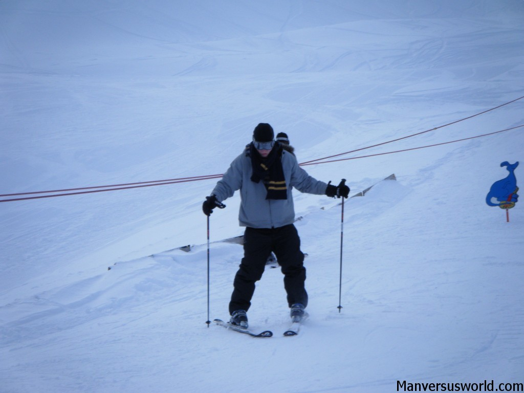 Me learning to ski in the Swiss Alps