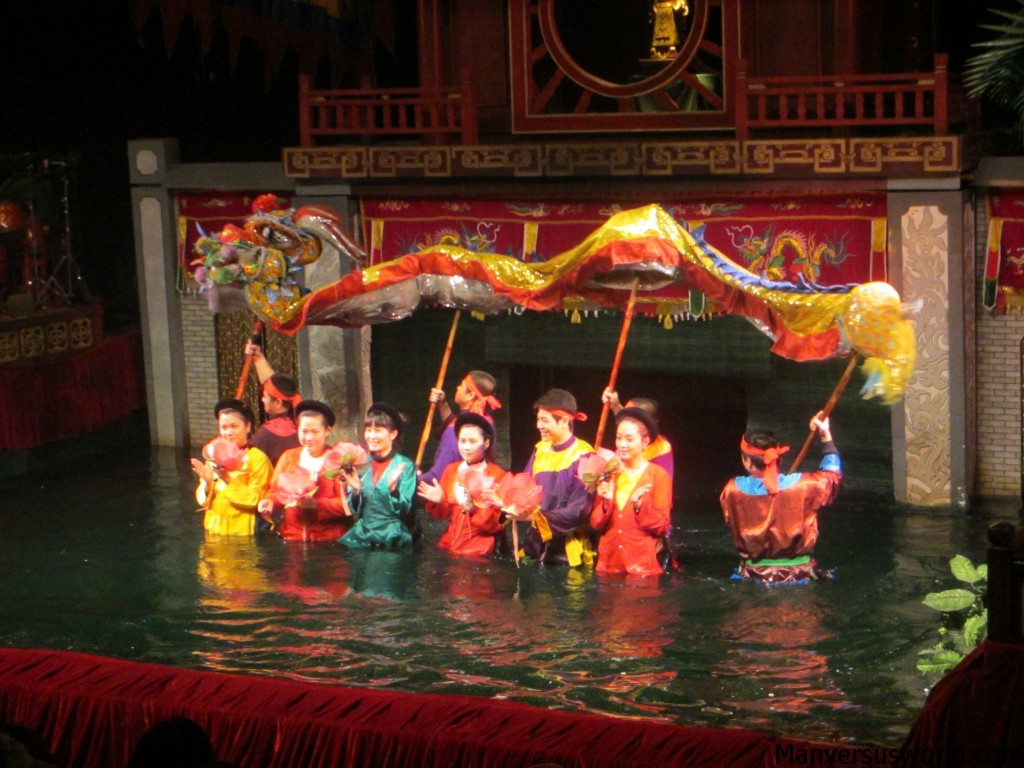 The ending of a water-puppet show in Hanoi, Vietnam.
