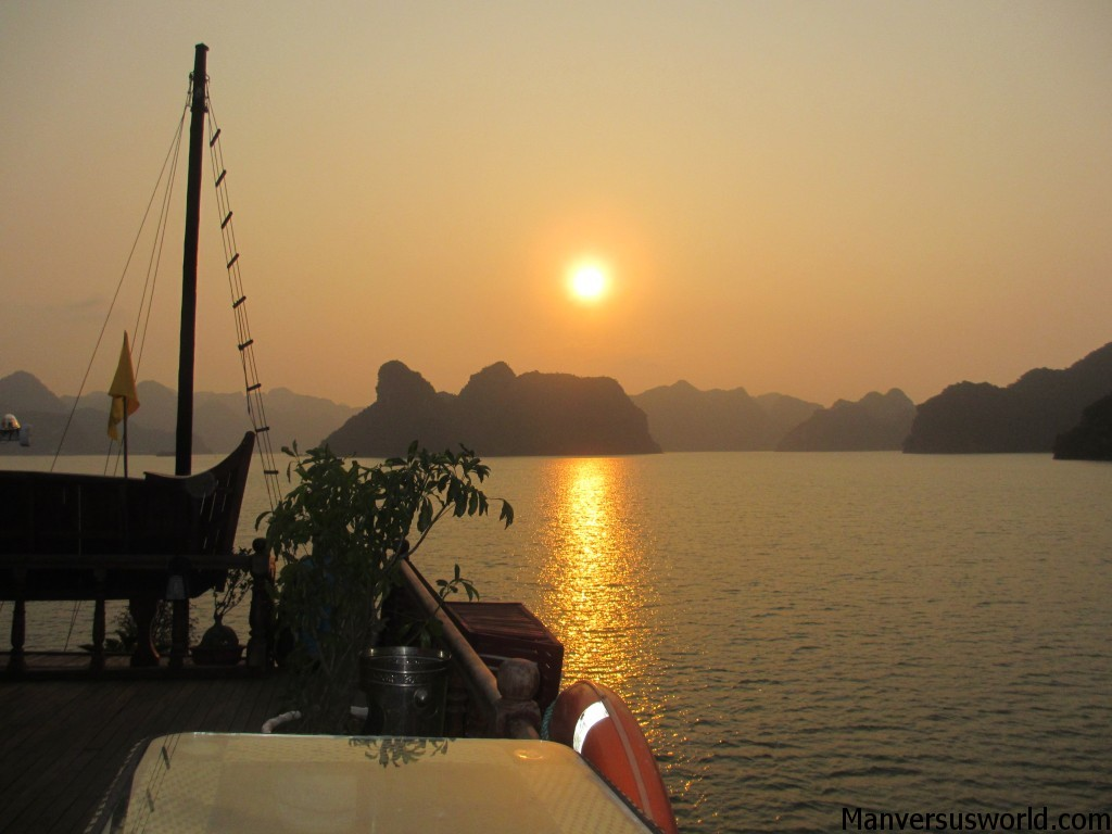 The sunset over Halong Bay, Vietnam