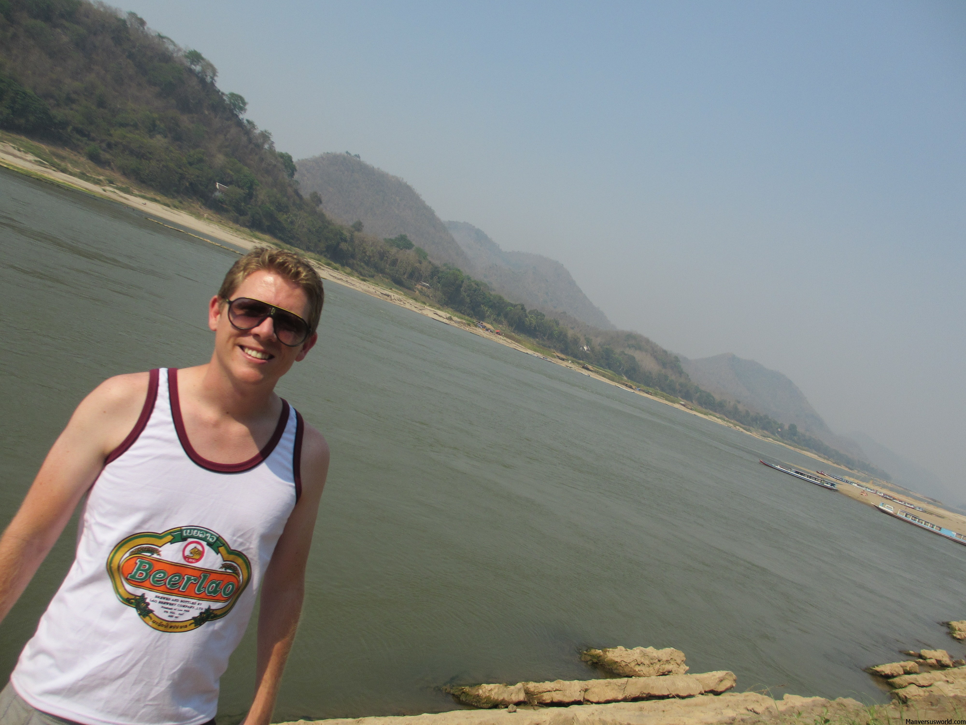 Me in Luang Prabang, Laos, next to the Mekong River.