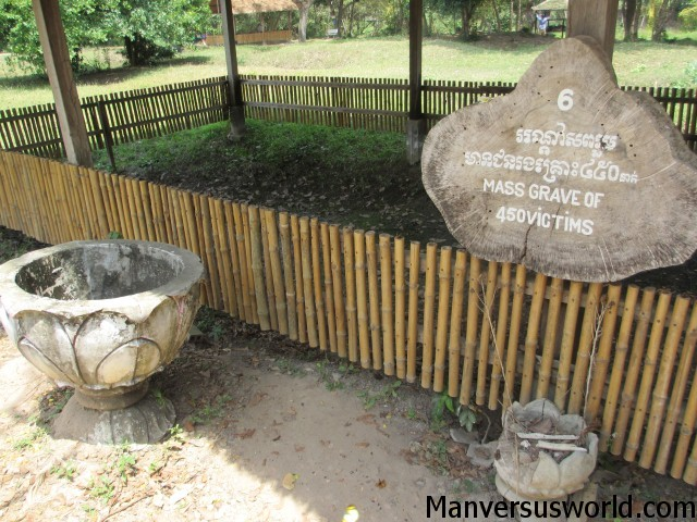 A mass grave at Choeung Ek, one of Cambodia's best-known killing fields.
