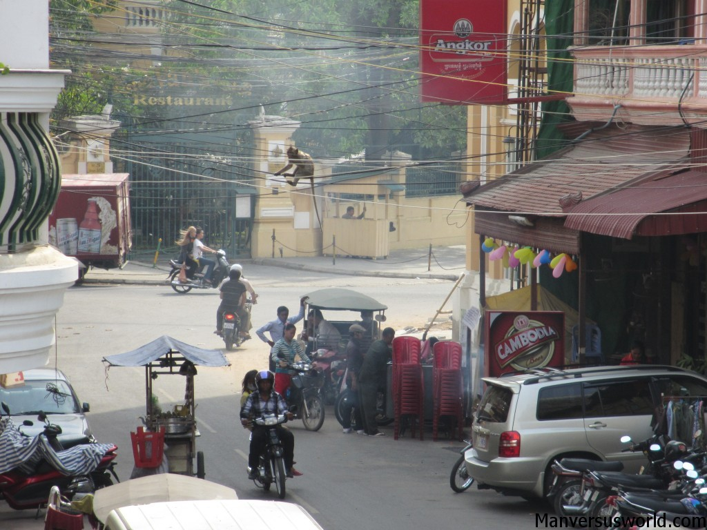 Monkey climbs the power lines in Penom Penh, Cambodia