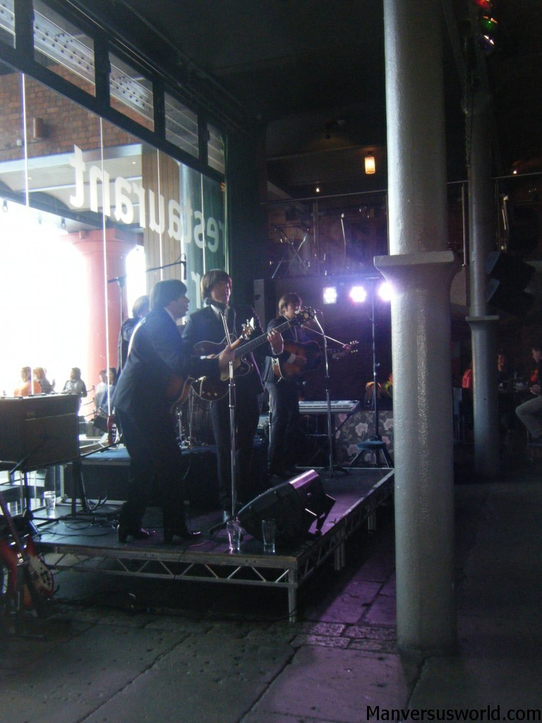 The Cheatles mid-set in a Liverpool bar