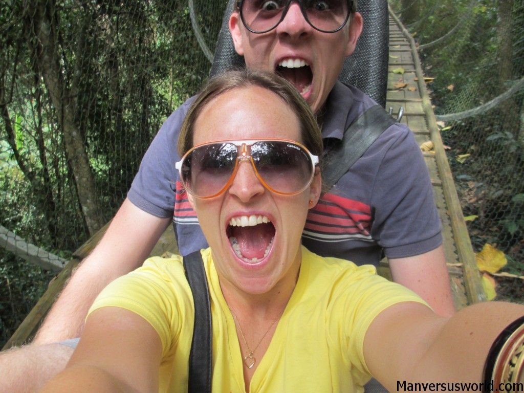 Me and Nic screaming on a toboggan ride to a Dalat waterfall