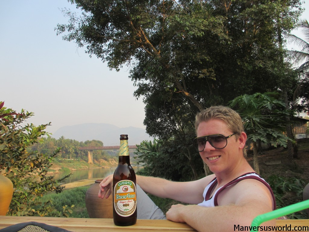 Me with Beerlaos in Utopia, Luang Prabang, Laos