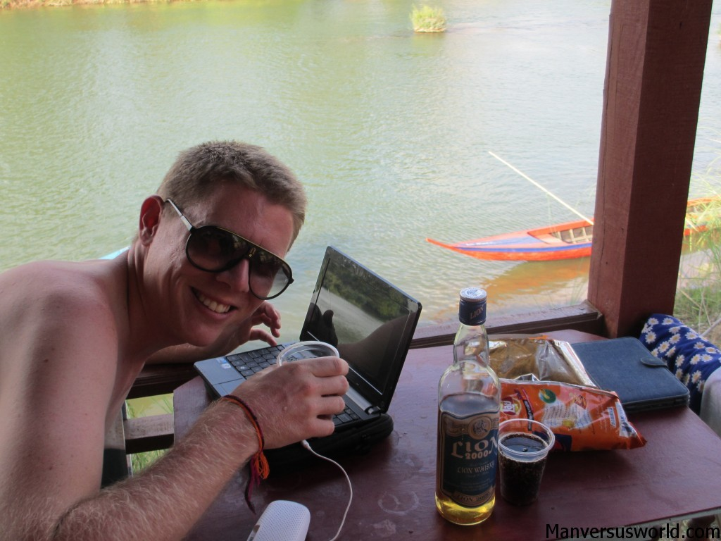 Me blogging in Don Det, Laos