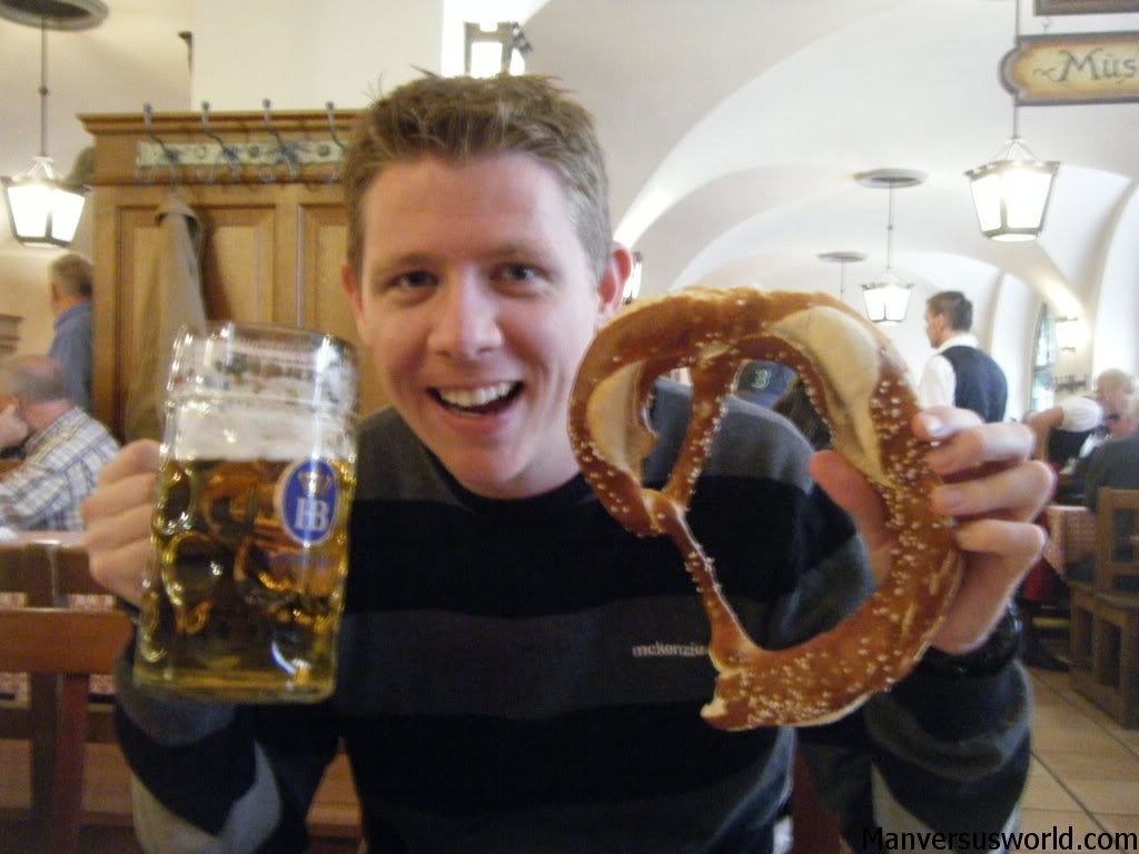 Stein and pretzel in a German beer house, Munich