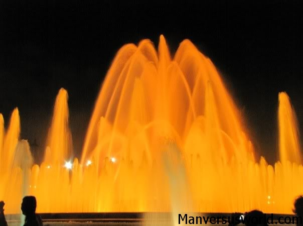 Montjuïic Park's magic fountain in action, Barcelona, Spain