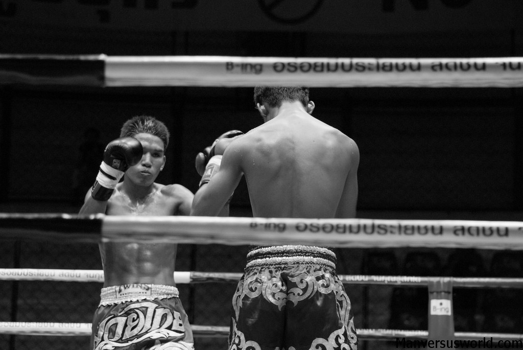 Black and white boxing image