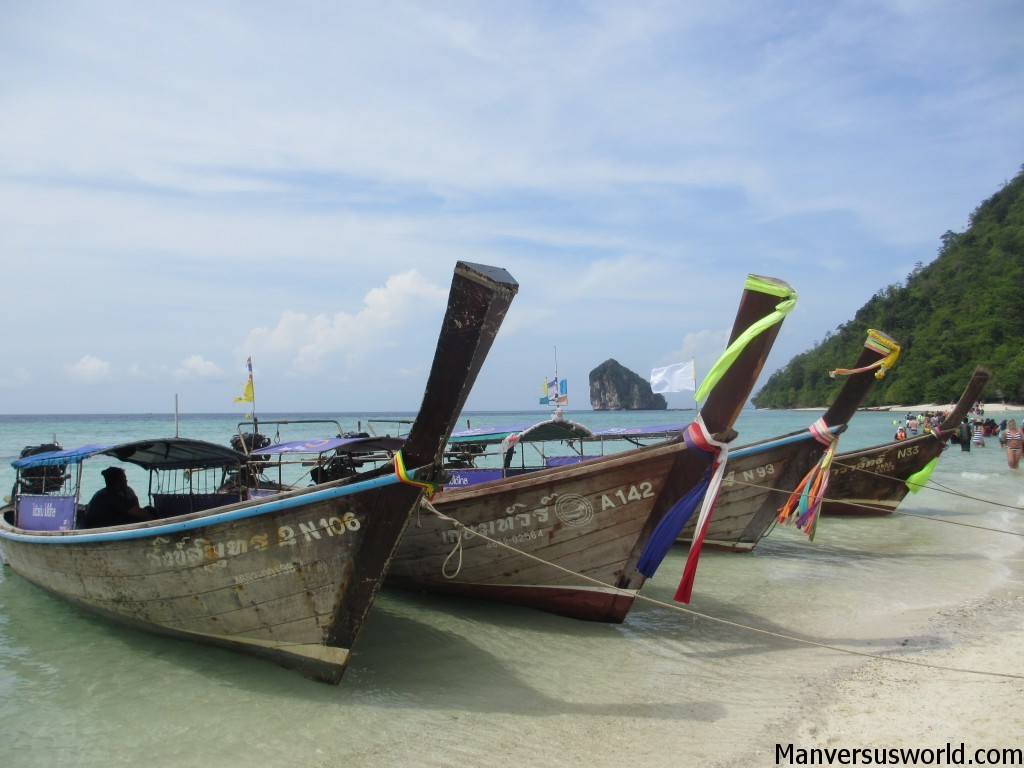 Picturesque Thai long-boats in the islands