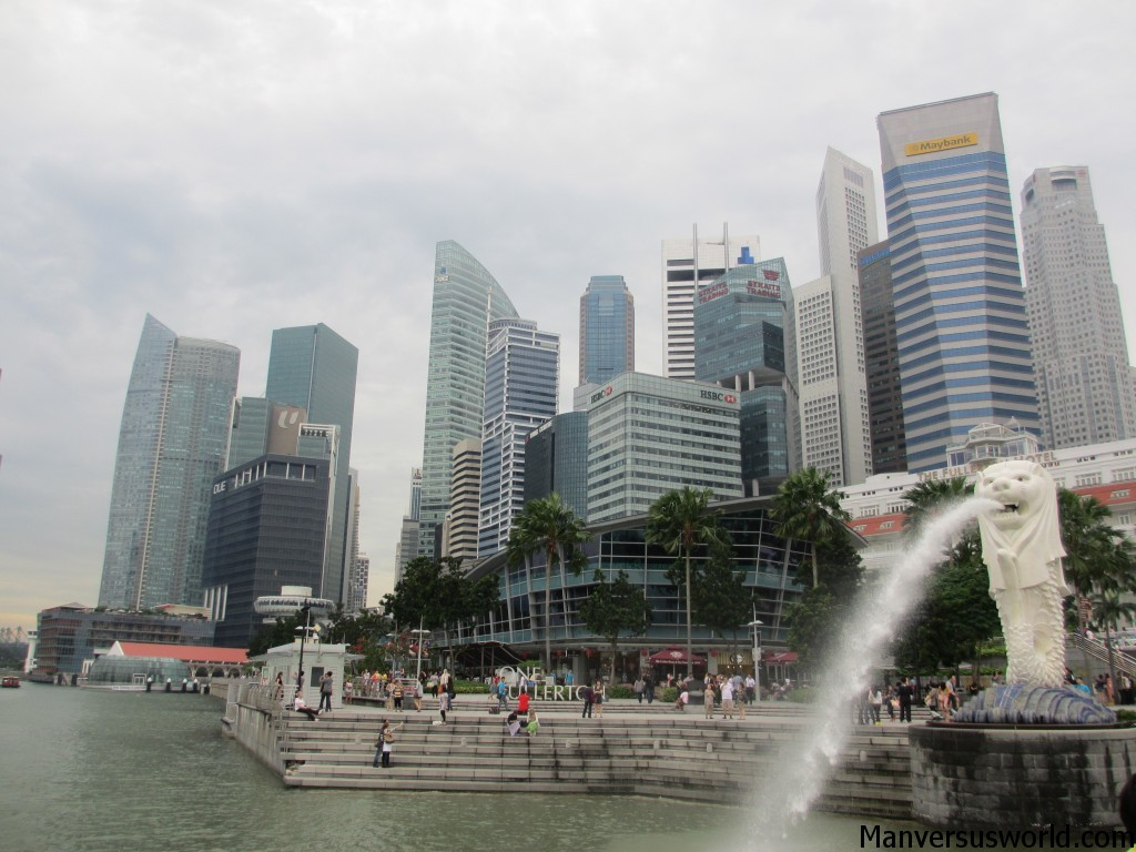 Singapore city as viewed from Merlion Park