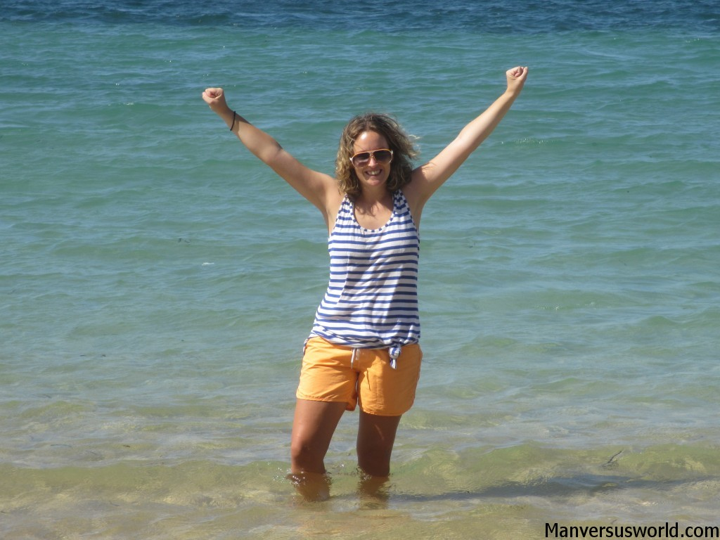 Nicola celebrates the good weather in Sanur, Indonesia
