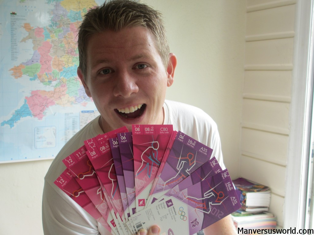 I proudly show off my London 2012 Olympics tickets