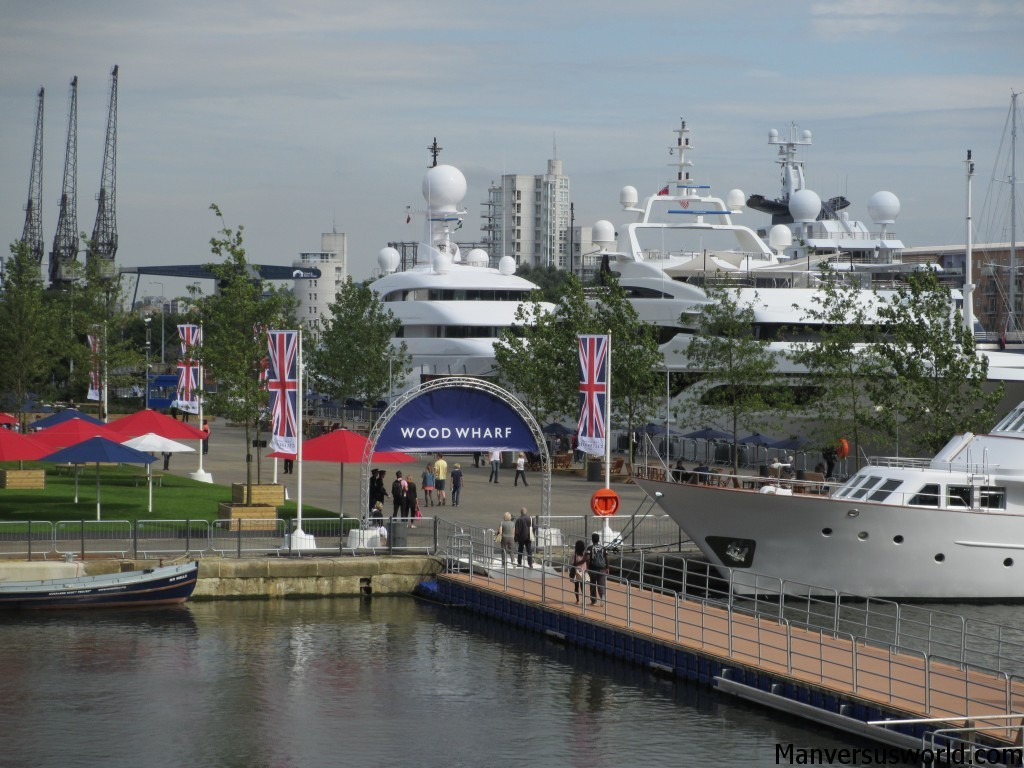 The yachts of the rich and famous parked at Canary Wharf in London