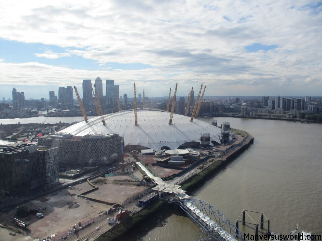 Views over London and the O2 from the cable car