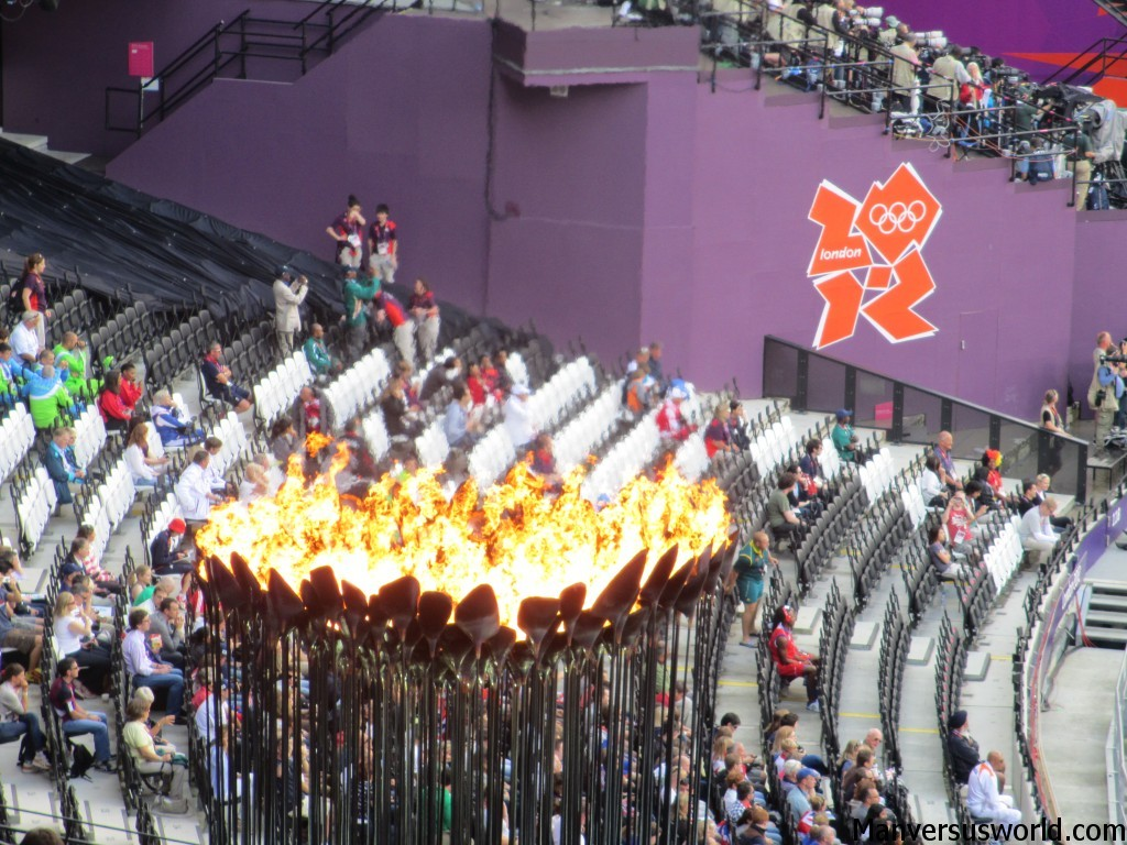 The London 2012 Olympic flame burns bright inside the stadium