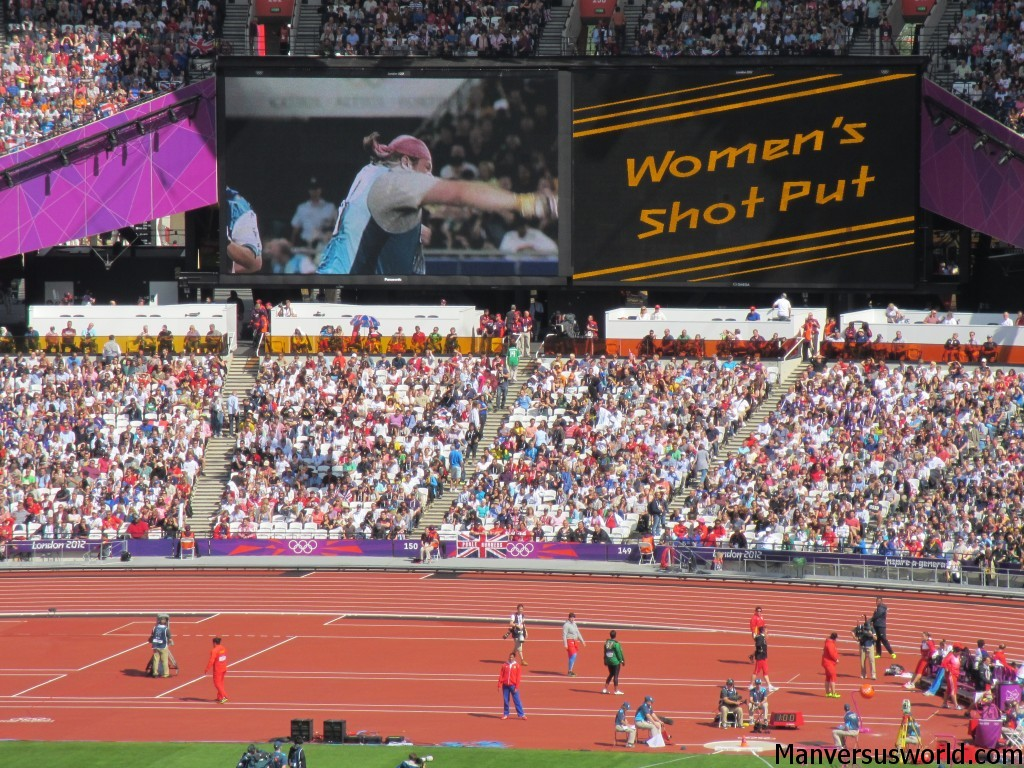 Women's shotput inside the London 2012 Olympic Stadium