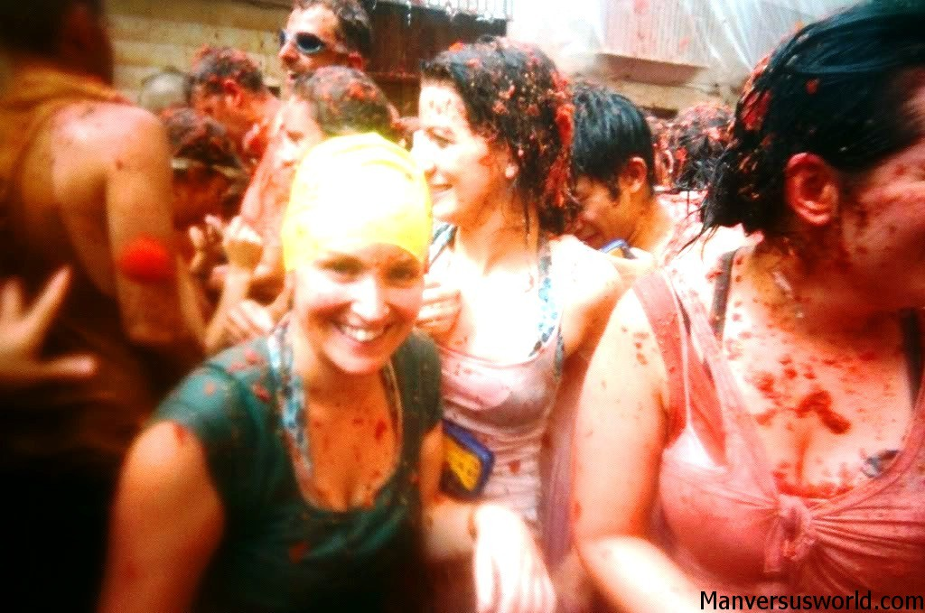 Nic sees red at the tomatoe festival La Tomatina in Spain