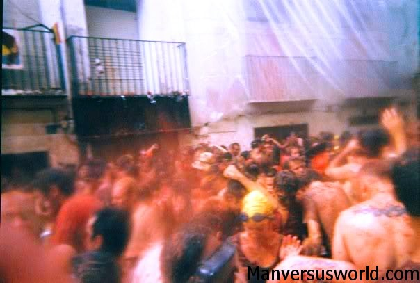 The La Tomatina tomato fight in Spain.