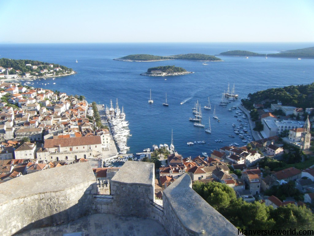 The view from Hvar's mountain-top fortfications in Croatia