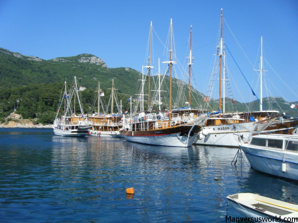 Sailing boats moored at Korcula, Croatia