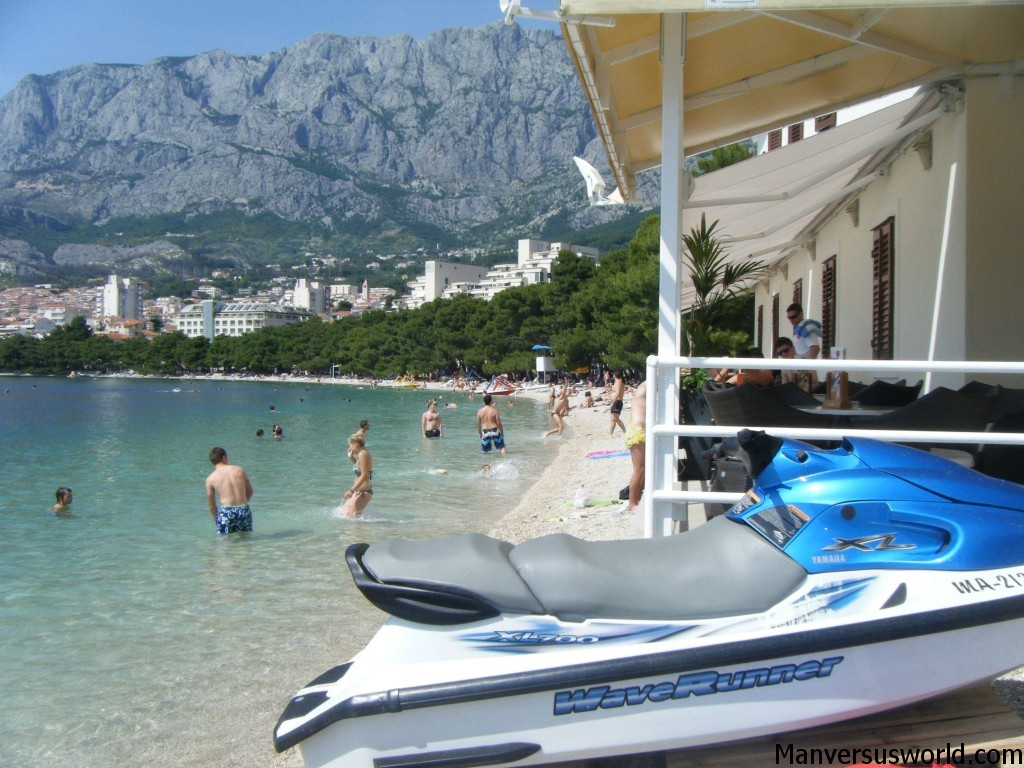 Jet-skis and swimming in Makarska, Croatia