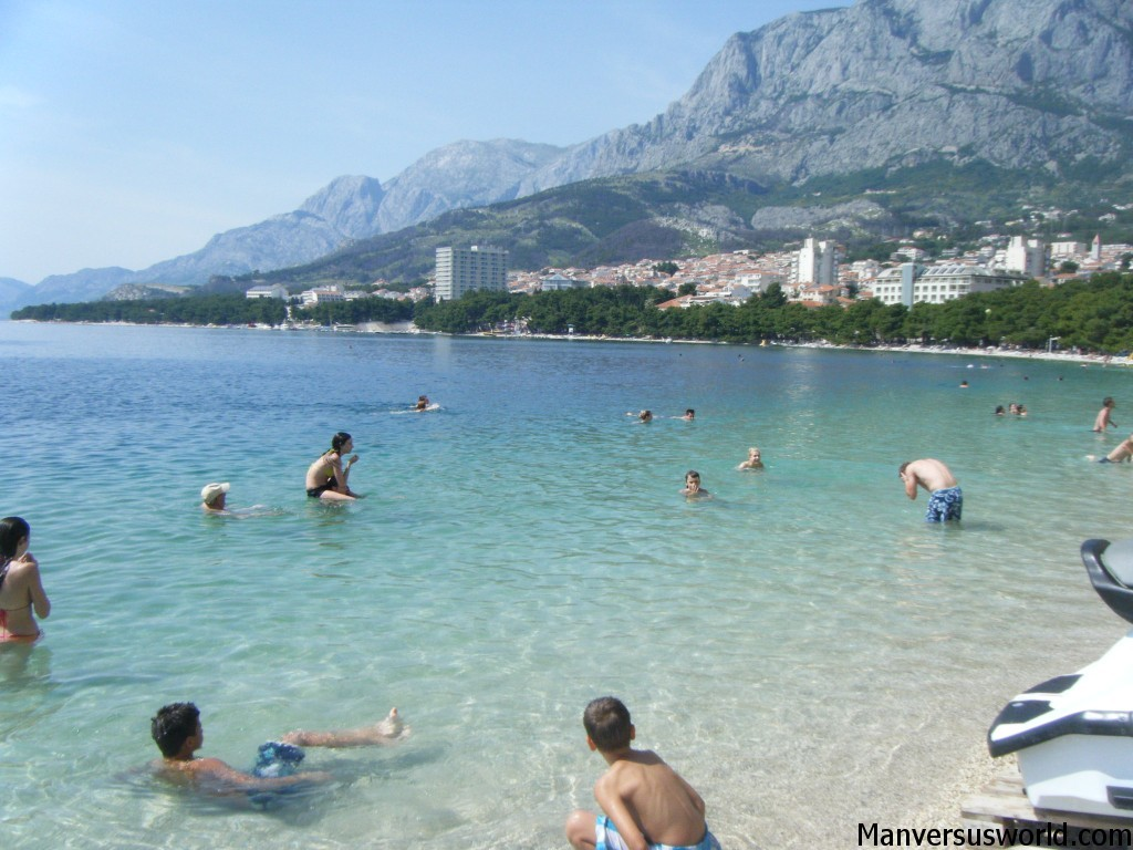 Swimming in beautiful Makarska, Croatia