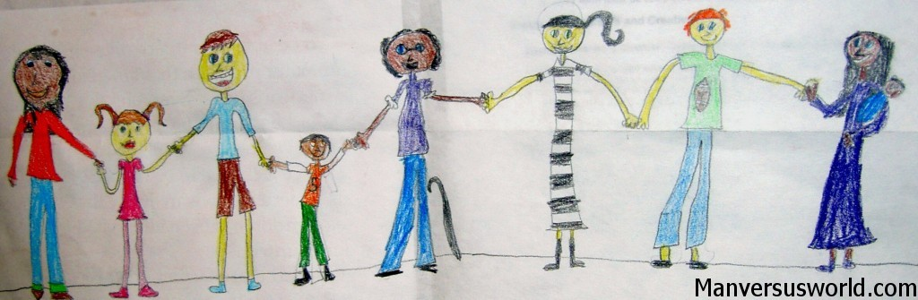 A child's drawing of friends