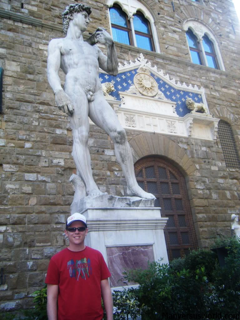 A traveller in front of the (fake) statue of David in Florence, Italy