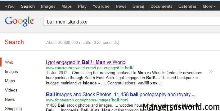 A very weird Google search term brings up my blog as the top result!
