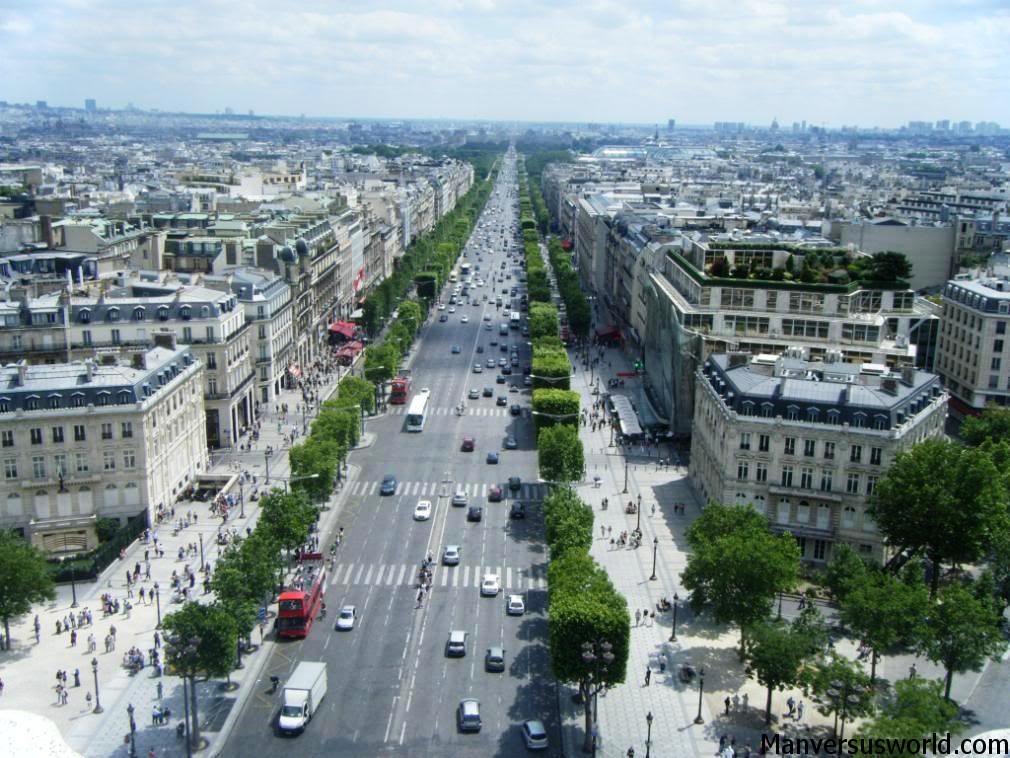 The view over the Champs Elysees from the Arc de Triomphe