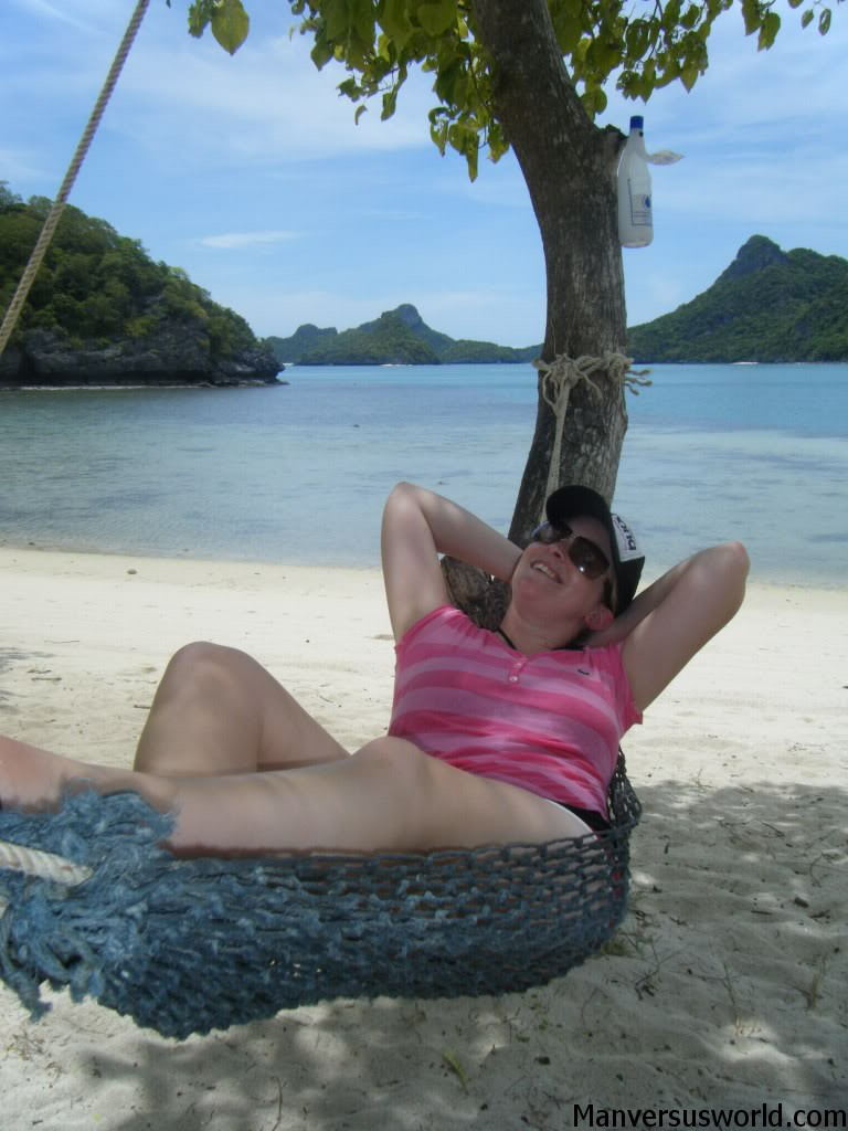 Nicola relaxes on a hammock in Koh Samui