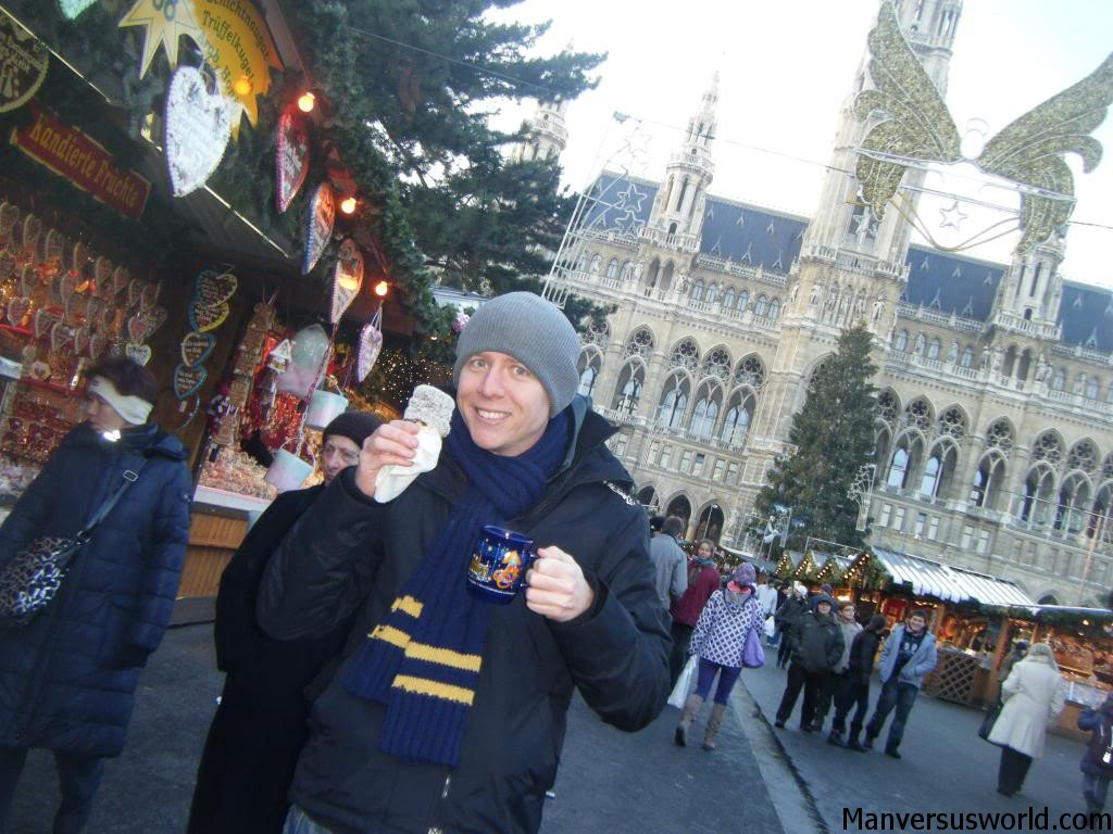 Mulled wine and a snowball at a Christmas market in Vienna, Austria