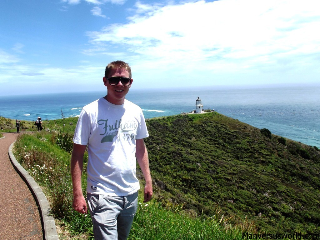 Me standing in front of the Cape Reinga lighthouse