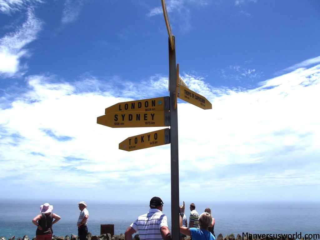 The signpost at Cape Reinga in Northland, New Zealand