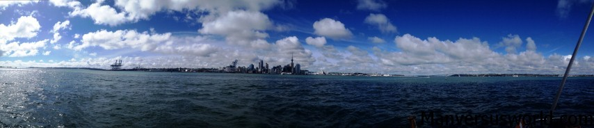 The view of Auckland city from the Hauraki Gulf