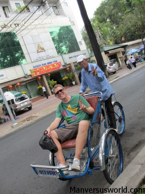I take a ride on a cyclo in Ho Chi Minh City