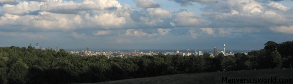 A panorama of the view over London from Hampstead Heath