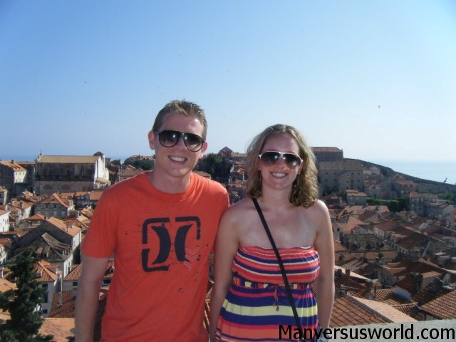 Me and Nic in Dubrovnik, Croatia, on the city walls