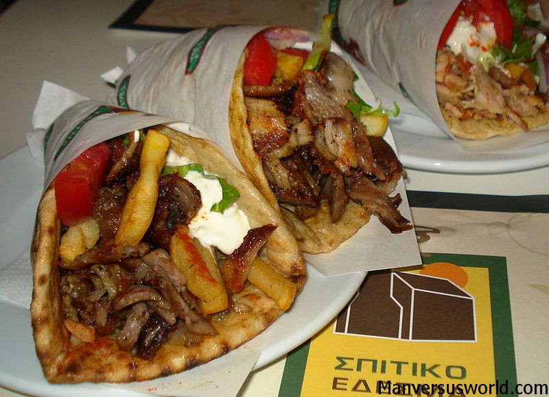 Delicious gyros in Athens, Greece