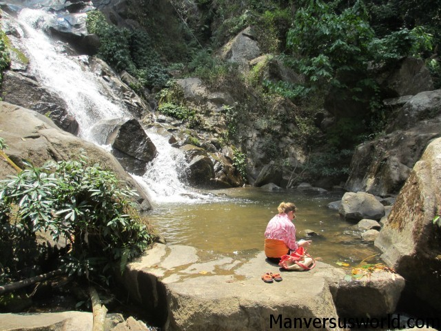 The nearby waterfall at Akha Hill House, Chiang Rai.
