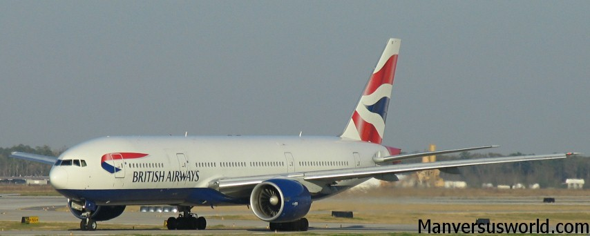 A British Airways plane on an airport runway.