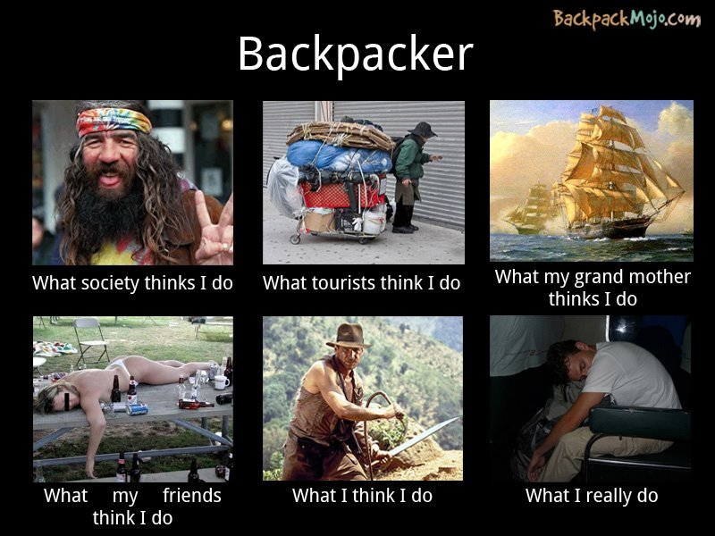Funny backpacker picture.