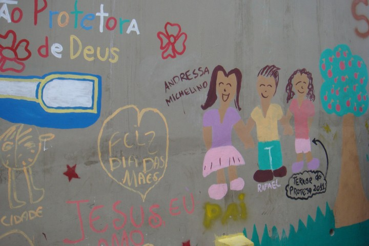 Children's graffiti in the Rocinha favela, Rio